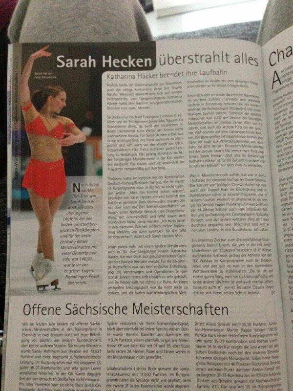 Sarah Hecken  - An article a twitter @sarahhecken actuell,news,figureskating