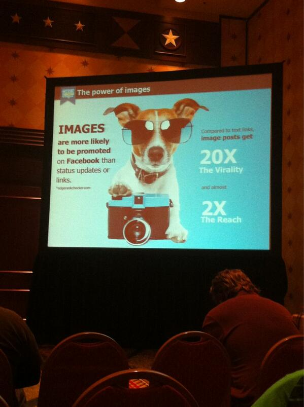 People like images the most. Get rid of the text/video and use a photo instead. #humorbomb #sxsw http://pic.twitter.com/Tq7tg2qy4h