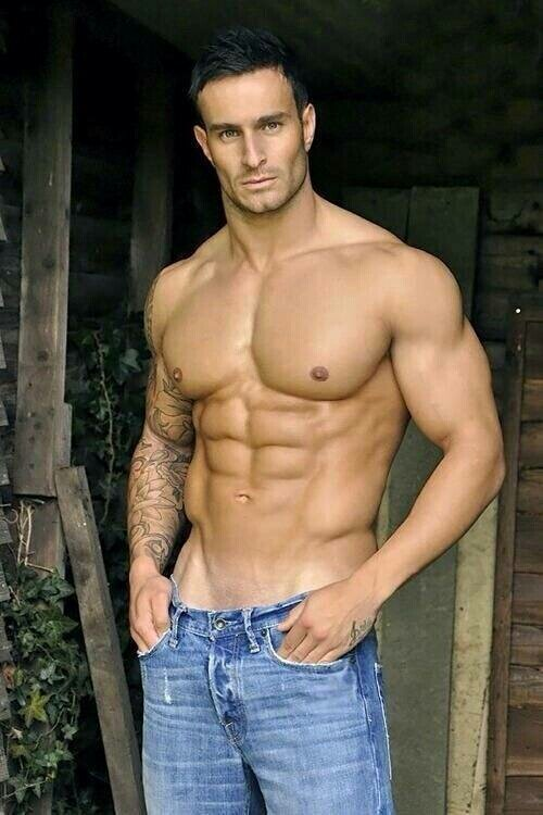 Well Build Hunk Shows His Stiff Muscles