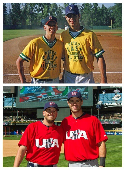 Perkins and Mauer 12 years ago and today (courtesy of Glen Perkins)