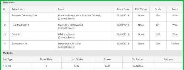 Picture: Did a lucky punter win £50k off a £5 stake on Barcelona 4   AC Milan 0?