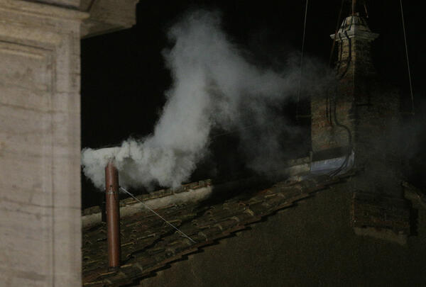 Twitter / Reuters: Photo: White smoke emerges ...