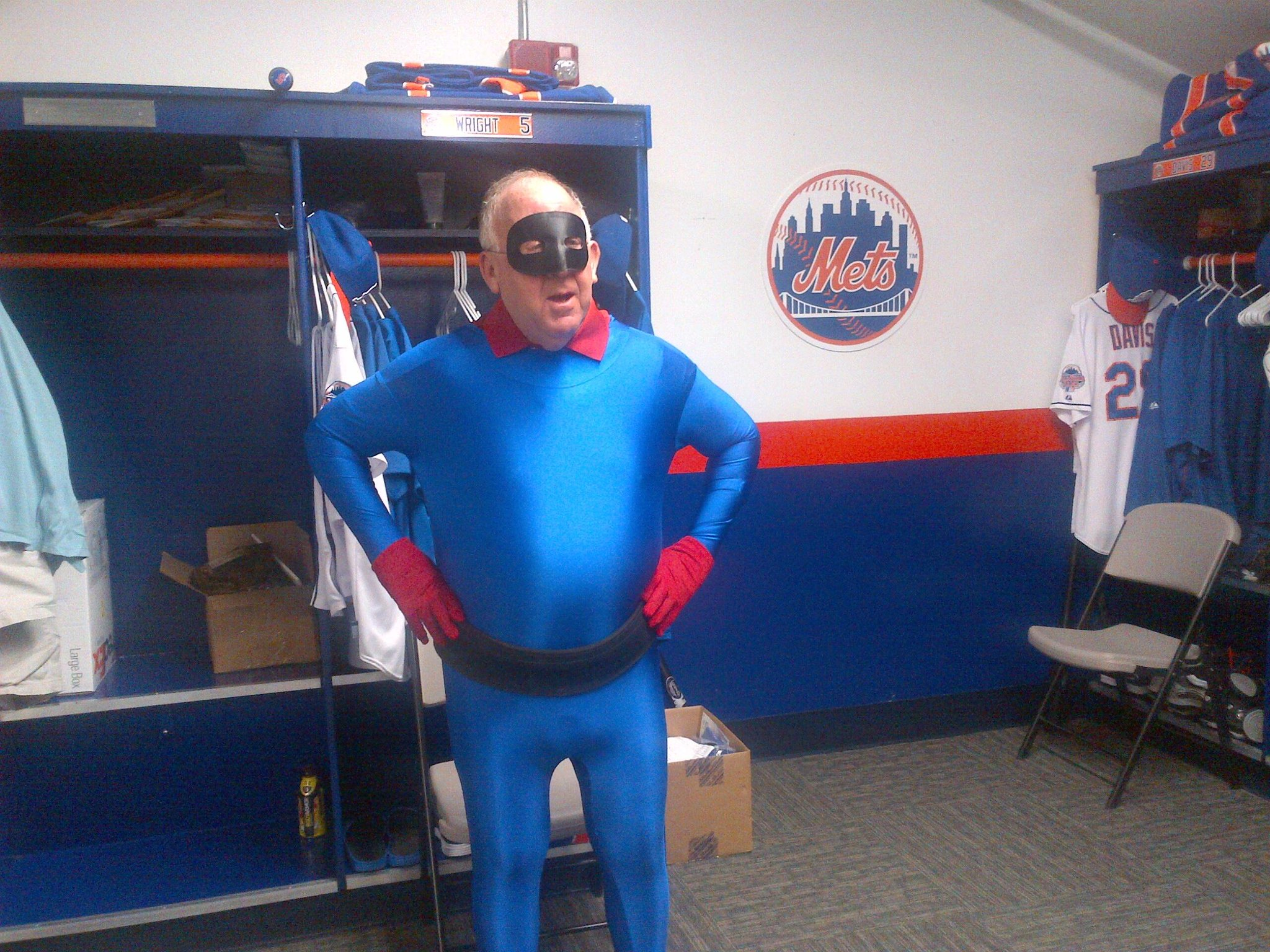 Mets PR VP Jay Horwitz dressed as Captain America sidekick Bucky