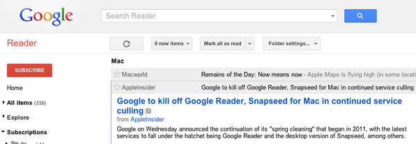 Reading about the fate of #GoogleReader from inside Google Reader. #crap http://pic.twitter.com/F1GNJLYXfJ