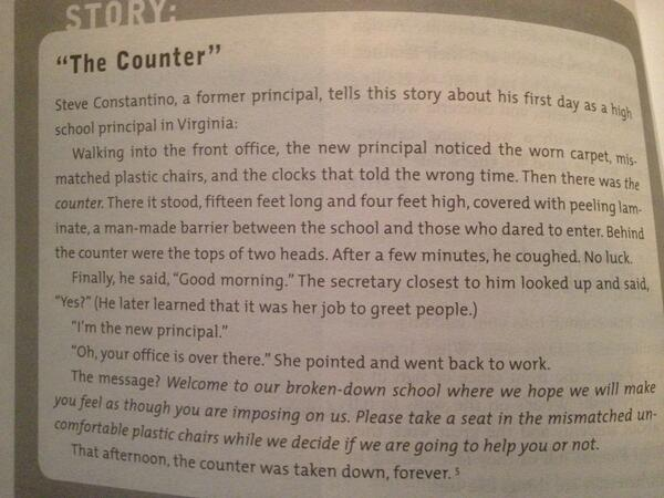 "One story of an un-welcoming ""counter"" at Steve Constantino's first school. He later removed this barrier. #ptchat http://pic.twitter.com/9U2MZNXBxg"