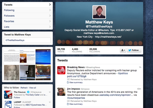 UPDATE: @Reuters deputy social media editor @thematthewkeys retweeted a breaking tweet about his indictment (PHOTO) http://pic.twitter.com/FhTV8GMG7l