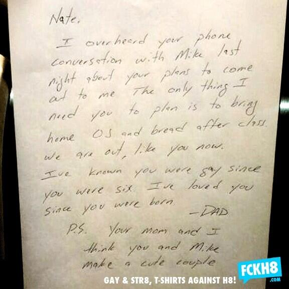Lovely: A dad overhears his teen son talking w/ his boyfriend. Dad's note: http://t.co/kdpOUDamDU (via @greatdismal @johnremy @SnarkySteff)