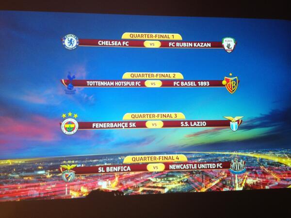 Uefa Europa League On Twitter The Quarter Final Fixtures On Screen