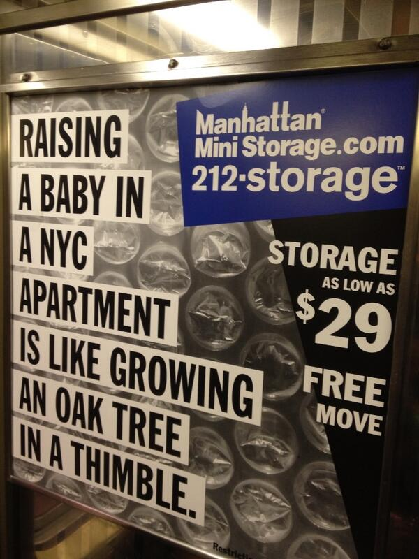Raising A Baby In Nyc Apartment Is Like Growing An Oak Tree Thimble Subway Ad For Manhattanministoragepic Twitter Xmjawzta4o