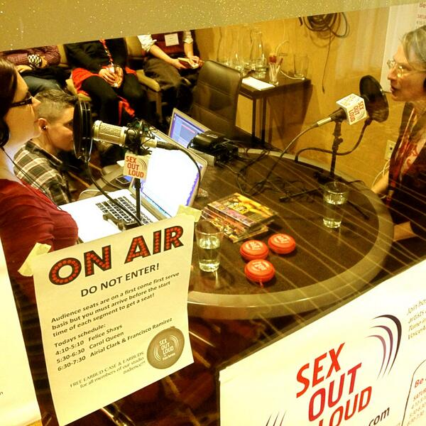 Sneaking a pic of @TristanTaormino & @carolqueen recording for @SexOutLoudRadio #ccon http://pic.twitter.com/b8PeVEP7lG