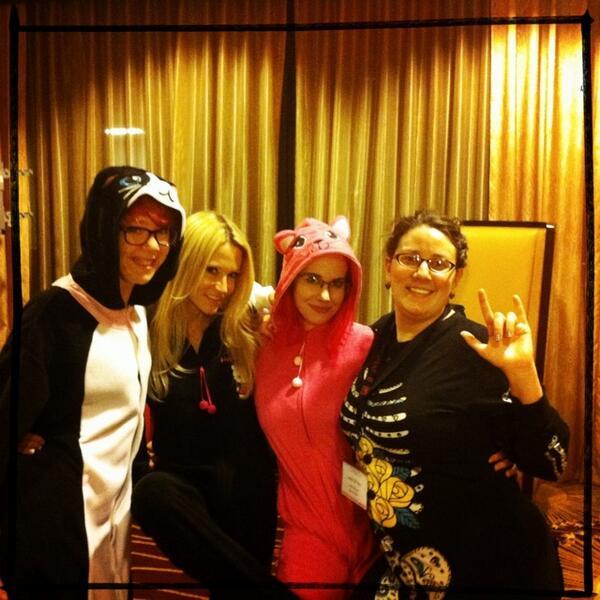 The #pajamacrew @vivaciousquirk @pinkness @thejessicadrake and me, ready for #dirtybingo w/ @duckyduckydoo #cconbingo http://pic.twitter.com/t6PbJm294M