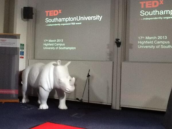 There's a Rhino at #TEDxSotonUni ! @TEDxSotonUni http://pic.twitter.com/fI1OLWSeLs