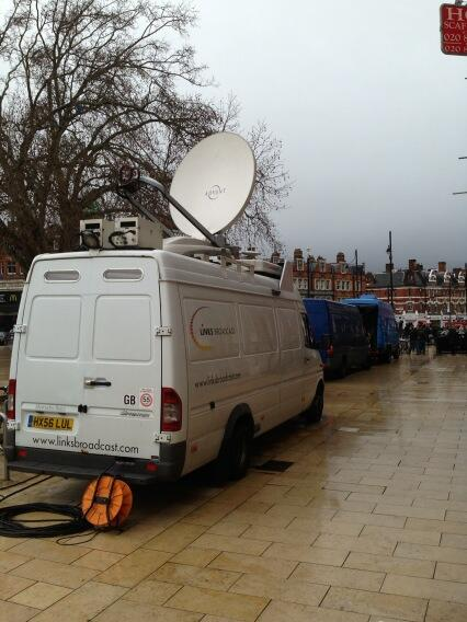 The outside broadcast vans have arrived, ready for the satellite Q&A with Ken Loach... #Spiritof45 http://pic.twitter.com/WFGCuSunkp