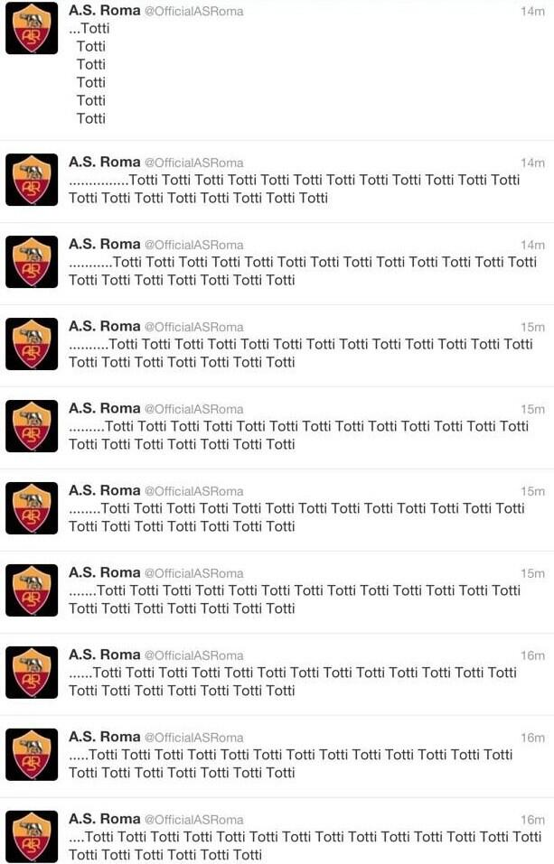 Romas Twitter account went into meltdown after Totti lead them to victory over Parma