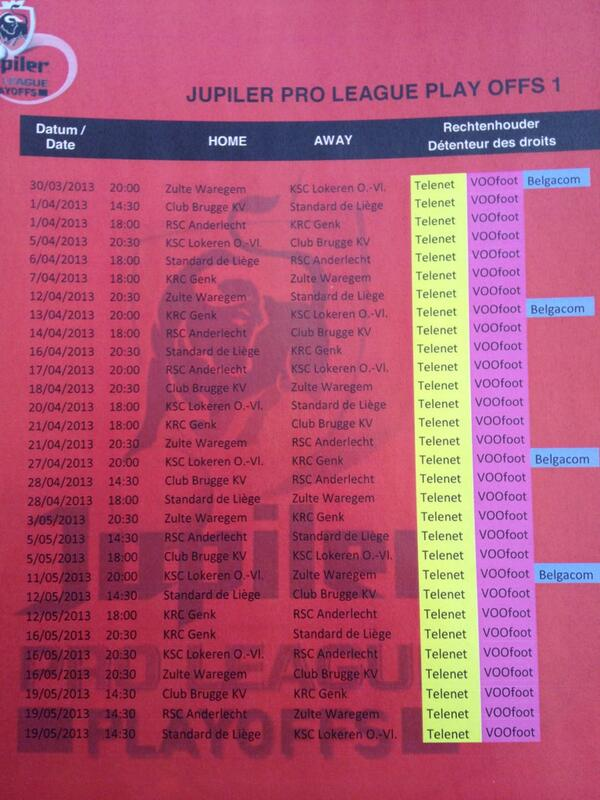 Calendrier Playoff 2013 Jupiler Pro League