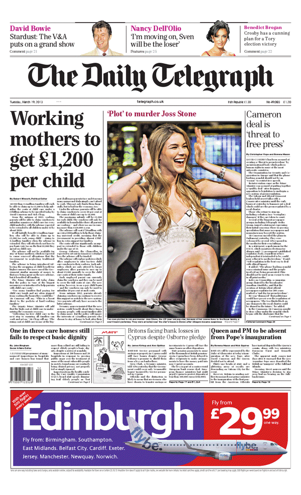 Twitter / Telegraph: Tuesday's Daily Telegraph front ...