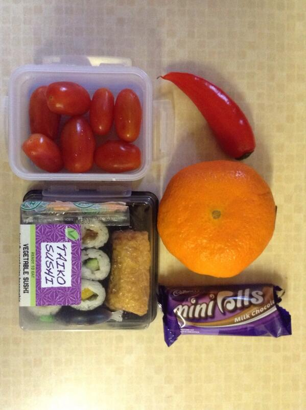 Lunch 2:  Vegetable Sushi, tomatoes, orange, pepper, chocolate. For 8 year old daughter. #GdnLunch http://pic.twitter.com/gYHZ3s4ITO
