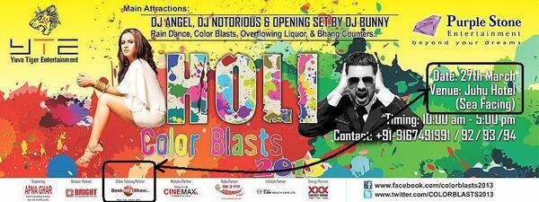 ".@sardesairajdeep Just came 2 know tht ""Yuva Tiger Ent""is organizing Holi Color Blast 13 in Mum #HypocriteRajdeep 2/n http://pic.twitter.com/3ie49uxFfS"