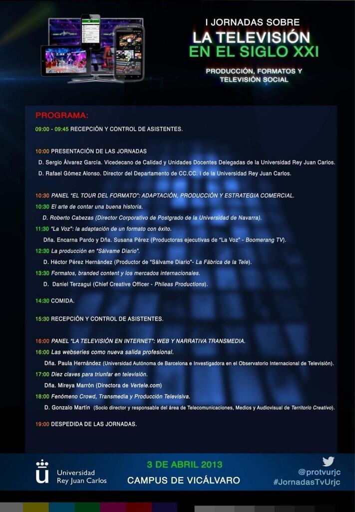 Programa de las primeras Jornadas sobre Televisión en el siglo 21
