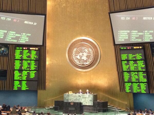 LT #ArmsTreaty - Avec 154 voix pour, 3 contre et 23 abstentions le traite sur le commerce des armes est adopté ! http://pic.twitter.com/9JF3DYLAvM