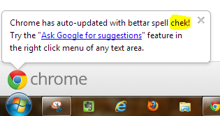 Google promotes 'bettar spell chek' in Chrome. Wondering if I should I disable it. ;-p #googlechrome