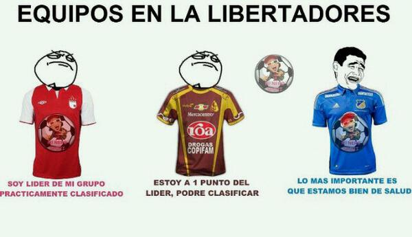 Equipos colombianos en la libertadores... #ElPañueloDeLágrimasMásGrandeDelMundo  pic.twitter.com/e1BJQXmJ4n