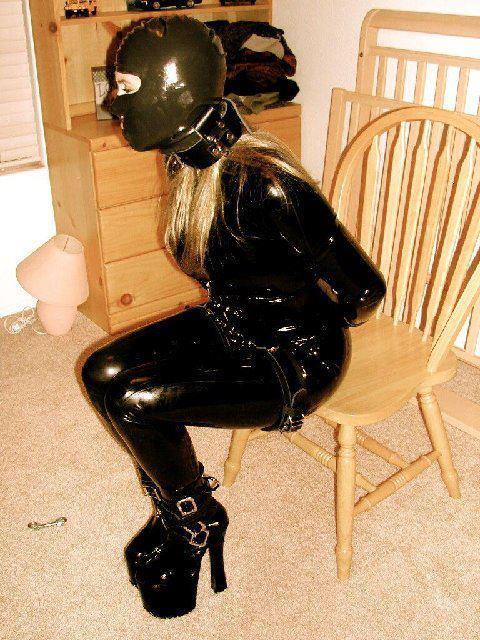Rubber catsuit bondage