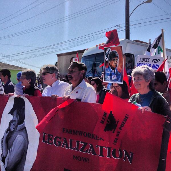 #Immigration march led by CA Sen. Jackson, Congresswoman Brownley, #UFW Pres. Rodriguez and Councilwoman Ramirez http://t.co/jzZZFQP4QO