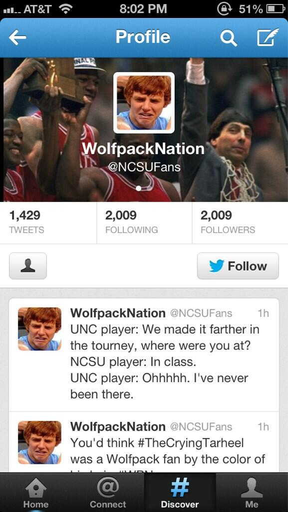 Bahahahahahah this is too funny! Nc states twitter image http://t.co/2Dwvgl2Jvx