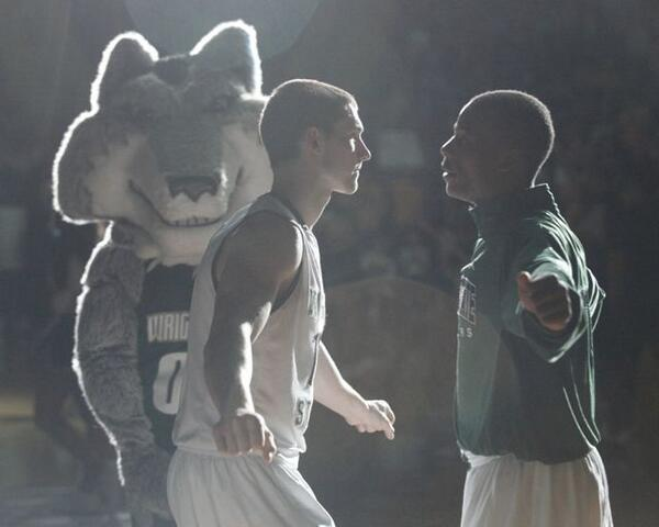 Kendall Griffin and Bobo Drummond bump chests during pregame introductions at Wright State. #wsuraiders #cbitourney http://t.co/tU37aoM0pa