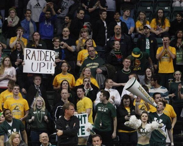 The Wright State students turned out in force tonight. #freepizza #goodbasketball http://t.co/7hTh4f1CyW