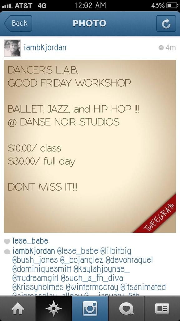Come take a ballet, jazz & hip-hop class  taught by me, @lilbitBIG & @BrianJorda this Friday! $10 each! questions??? http://t.co/DRvf2s81XC