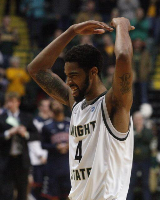 Jerran Young celebrates a 57-51 victory over Richmond. Wright State ties D-I WSU record for wins in a season (23). http://t.co/SV0Mzi32Fc