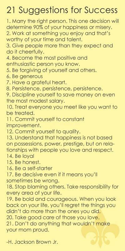 Twitter / MandyKloppers: 21 suggestions for success..I ...
