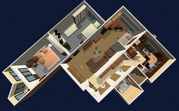 "Planner 5D on Twitter ""3 room apartment with a balcony 3D"
