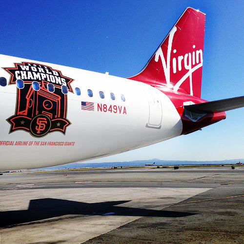 Red dragons. @VirginAmerica updates their Fly Bye Baby plane with a new  #SFGiants 2012 World Champion Logo #SFG2013 http://t.co/U7COETOQBN""