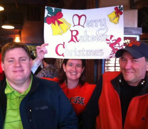 Merry Rakeem Christmas @jimmyfallon! From faculty and fans @newhousesu @syracuseu #sutojimmy http://t.co/39n81ZFFyu