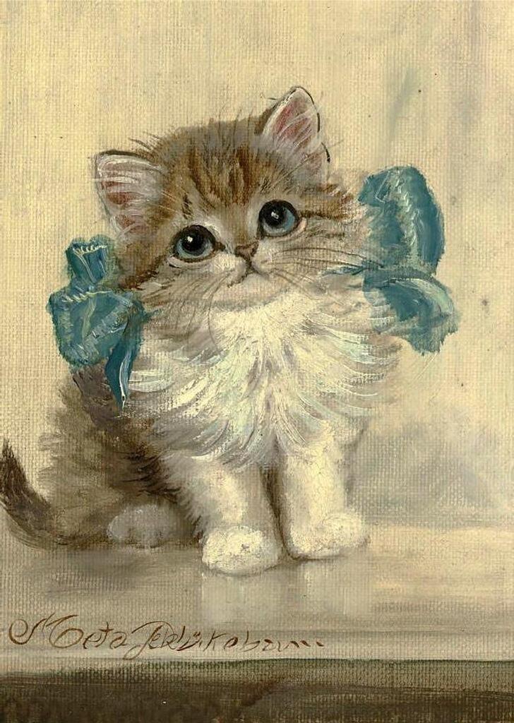 Нарисовать кота для открытки, губы поцелуй