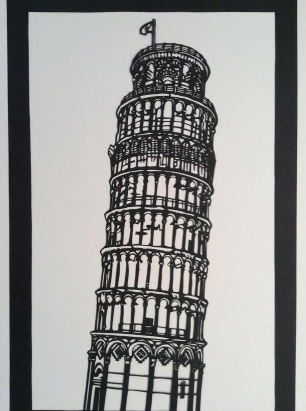 まる on Twitter \u0026quot;ピサの斜塔の切り絵です!久々に建物を切りました(*´꒳`*)切り絵 http//t.co/GeBejDYlmU\u0026quot;