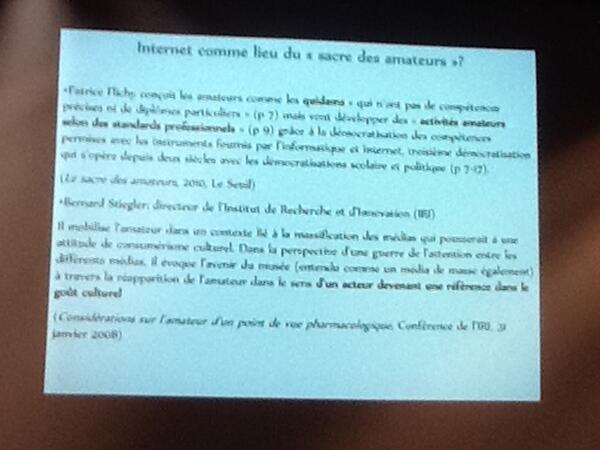 #RIMEMQB Deux références à suivre autour de l'amateur : Flichy et Stiegler, slide de @jaimelesmuses pic.twitter.com/Ae2XHwYtpm