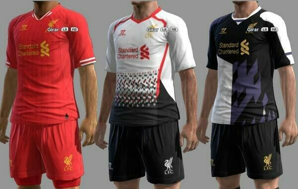 Liverpool 2013/14 home, away and third kit