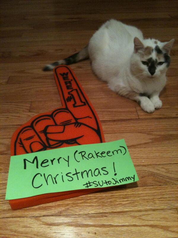 Hey @JimmyFallon  I worked hard on this photo. Merry (Rakeem) Christmas! #HerdingCat #SUtoJimmy http://t.co/VFgMFTNxRQ