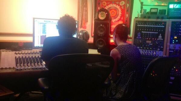 Katy and engineer Ian listening back http://t.co/Xh56V9RFND