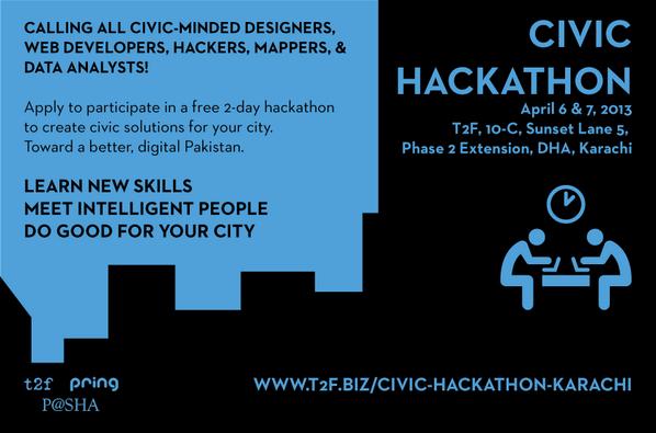 Registerations for a 2 day Civic Hackathon are open at http://t.co/5qnSx6WvEC http://t.co/qwl1mSVB9q @snajmi  #CivHackKHI