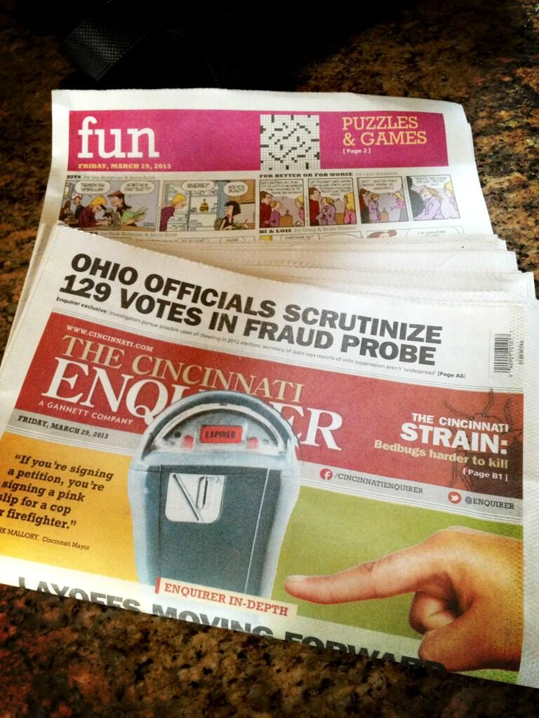 Twitter / EAHarter: The Cincinnati @Enquirer is ...
