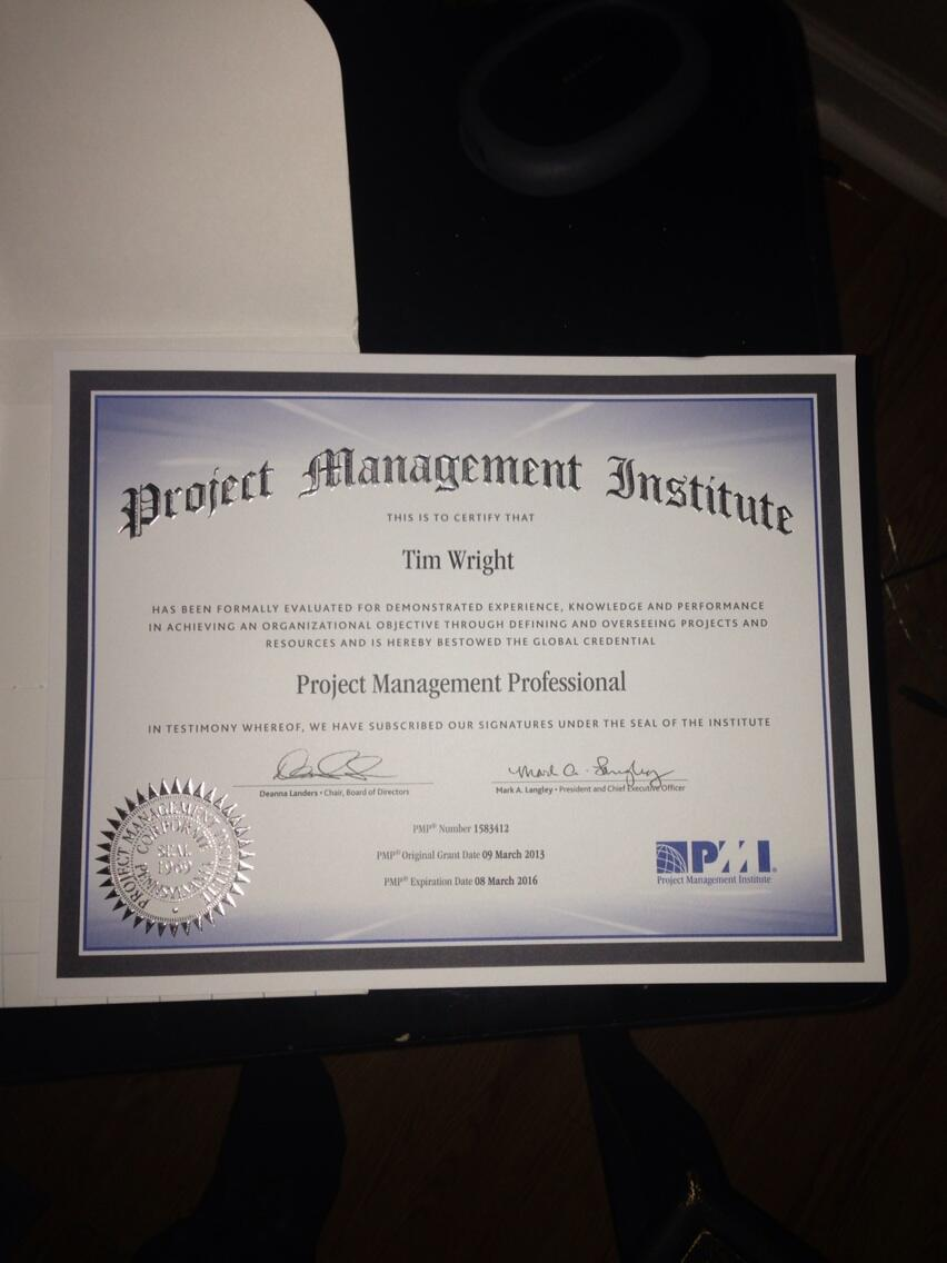 Twitter / TimWright615: It's official. My #PMP ...