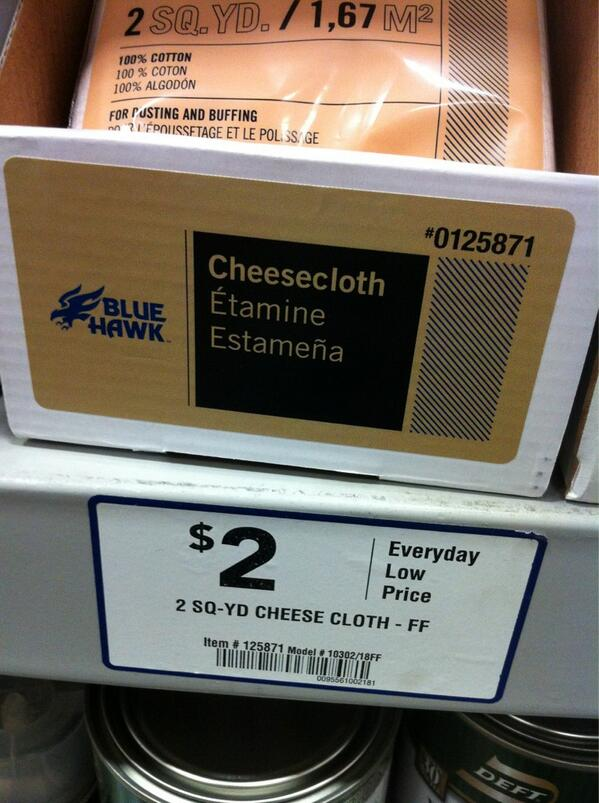 Rene Lynch On Twitter Cheapest Cheesecloth In Town In The Painting Aisle Lowes Label Says Its Food Safe T Co Pygudott