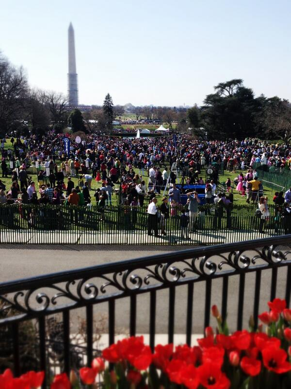 So excited to host thousands of families at the @WhiteHouse today for the 2013 #EasterEggRoll. What a view! –mo pic.twitter.com/8bzzdgpUct