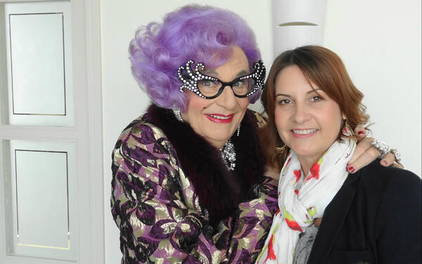 Two housewife megastars! @LouiseTalks and @RealDameEdna in conversation tomorrow from 1pm on @bbcradiowales #possums http://t.co/IbkAvia3bA