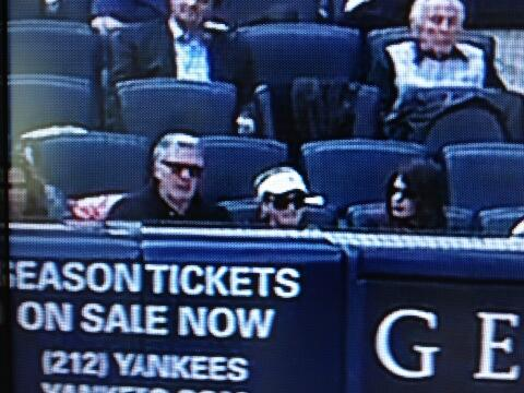 Keith sitting with two women Opening Day 2013 Yankees vs Redsox at Yankee Stadium 1